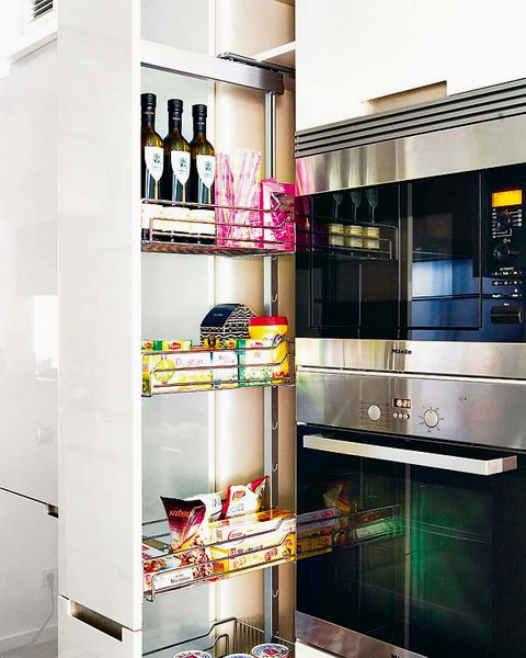 Tall Slide Out Cabinet Is Perfect To Have All Necessary Kitchen Supplies On Hand
