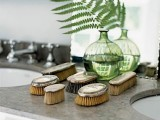 round green bottles with leaves add a fresh and lively touch to the space and look cool and interesting