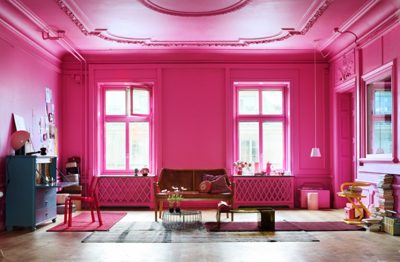 Vintage Bright Pink Living Room