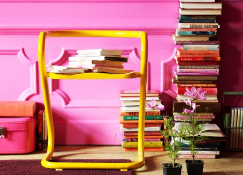 Vintage Bright Pink Living Room Inspiration - Shelterness