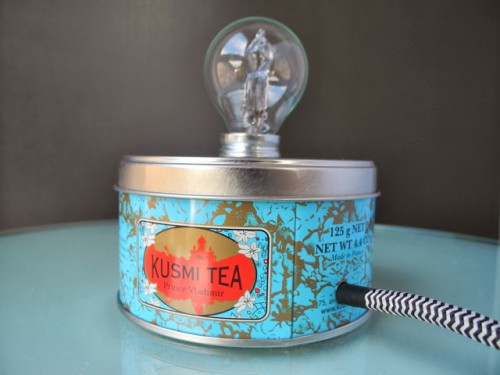 vintage inspired tea can lamp