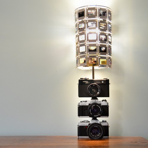vintage cameras lamp (via shelterness)