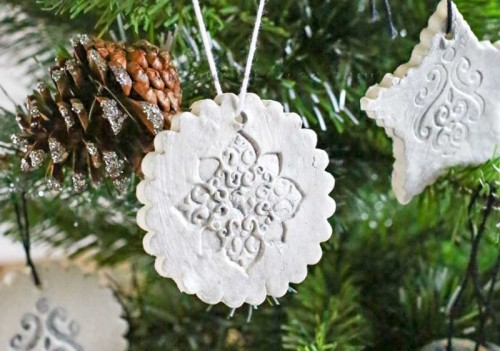 Vintage-Inspired DIY Stamped Clay Ornaments
