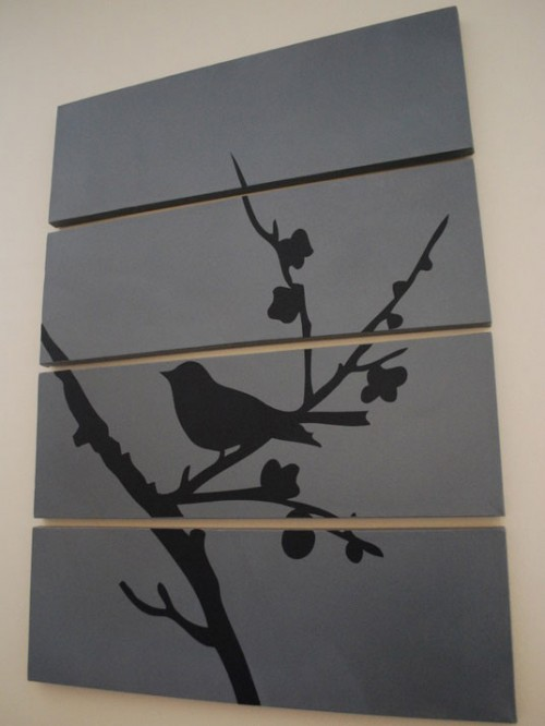 DIY Wall Decoration With Vinyl Silhouette On A Canvas