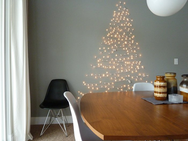 Wall Christmas Tree Made Of Lights | Shelterness