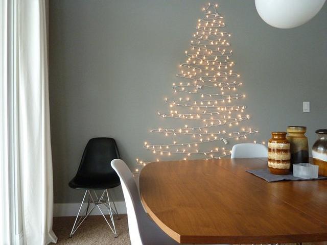 Wall Christmas Tree Made Of Lights
