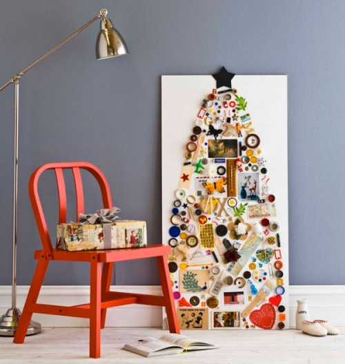 5 DIY Wall-Mount Christmas Trees of Small Objects