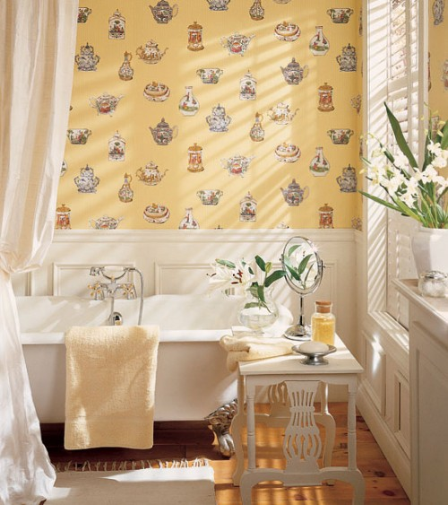 30 bathroom wallpaper ideas shelterness for Papier peint special salle de bain