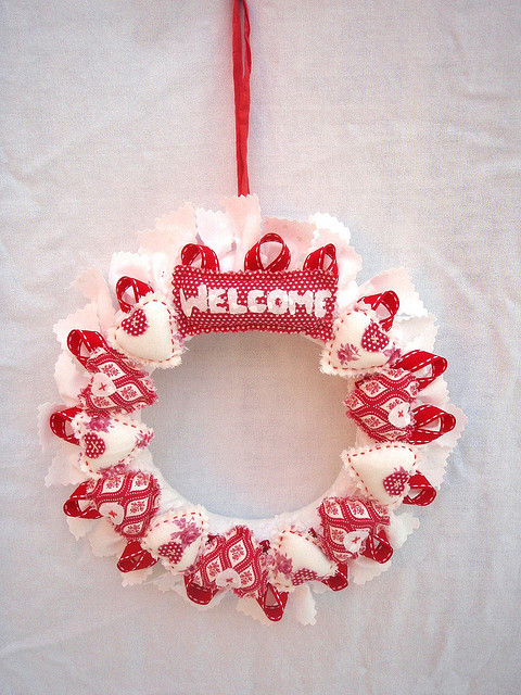 Welcome Red Heart Wreath