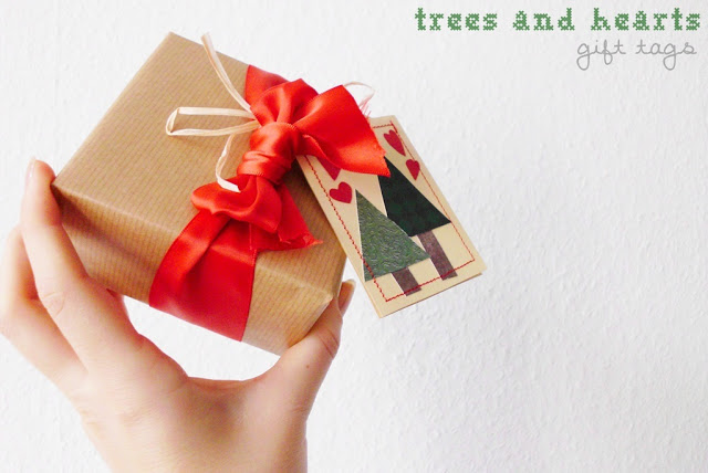 trees and hearts gift tags