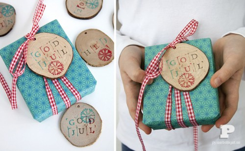 wooden stamped tags (via pysselbolaget)