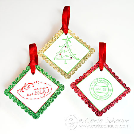 glittered and stamped gift tags (via carlaschauer)