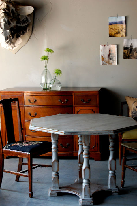 distressed whitewashed table (via designsponge)