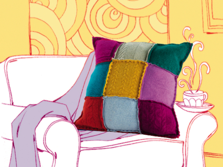 colorful sweater pillows (via craftfoxes)
