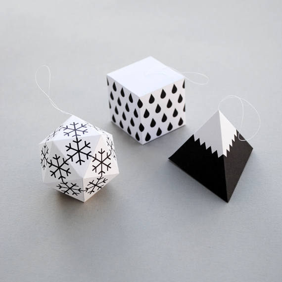 Modern black and white Christmas ornaments