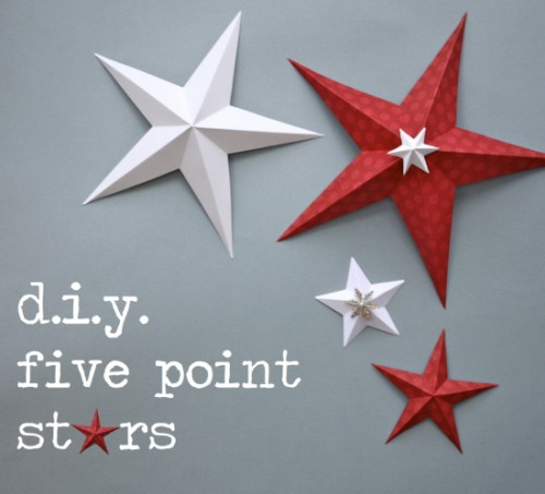 Five-point stars are in some ways the most striking and simple stars. This project won't take much of your time and you won't need any special skills to go through it. (via katescreativespace)
