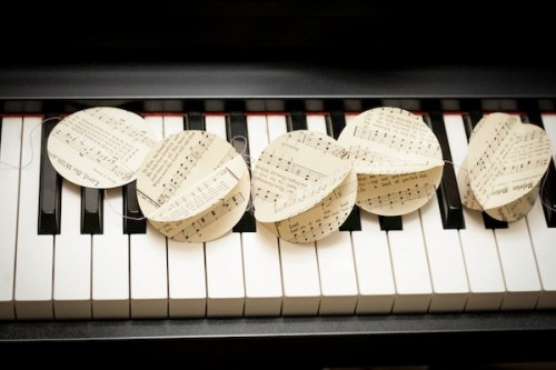 printed music paper garland