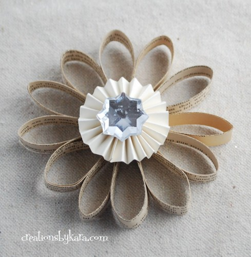 This vintage looking ornament is made of a small stack of book pages. The paper medallion is made of cardstock and a gem in the center of it. (via creationsbykara)