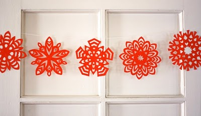 5 pointed paper snowflakes
