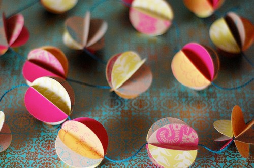 One more cool and simple project to make a cute garland from several sheets of coordinating paper. (via hamblyscreenprints)