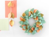 Colorful paper Christmas wreath