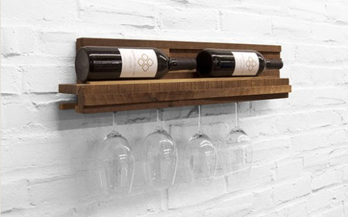 Compact Wooden Wine Rack for Bottles and Glasses