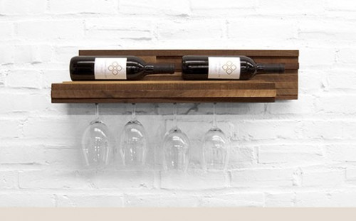 Wooden Wine Rack For Bottles And Glasses
