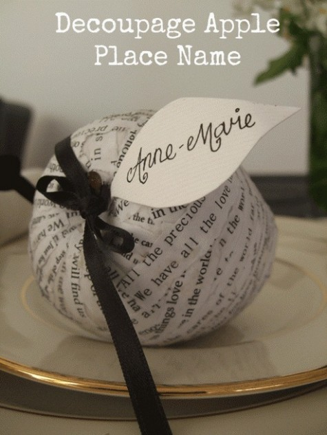 diy decoupage apple place name (via weddingomania)
